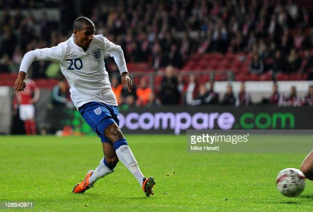 Ashley Young of England scores his team's second goal during the International Friendly match between Denmark and England at Parken Stadium on...