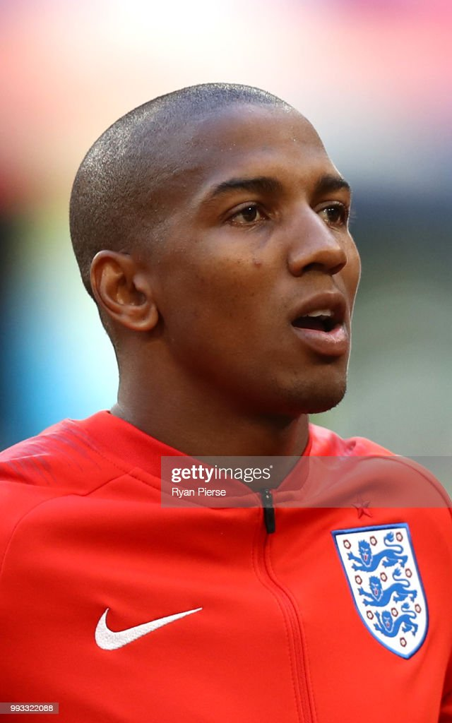Ashley Young of England sings the national anthem prior to