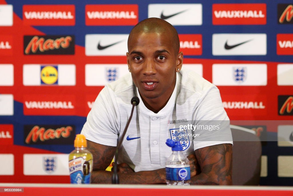 Ashley Young of England speaks to the media during a press conference at St Georges Park on May 28, 2018 in Burton-upon-Trent, England.