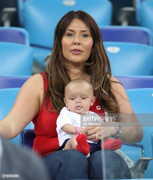 Ashley Young of England's wife Nicky Pike and their baby are seen during the 2018 FIFA World Cup Russia group G match between Tunisia and England at...