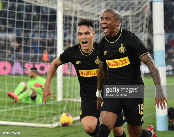 Ashley Young of FC Internazionale celebrates with his teammate Lautaro Martinez after scoring the opening goal during the Serie A match between SS...
