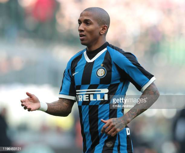 Ashley Young of FC Internazionale gestures during the Serie A match between FC Internazionale and Cagliari Calcio at Stadio Giuseppe Meazza on...