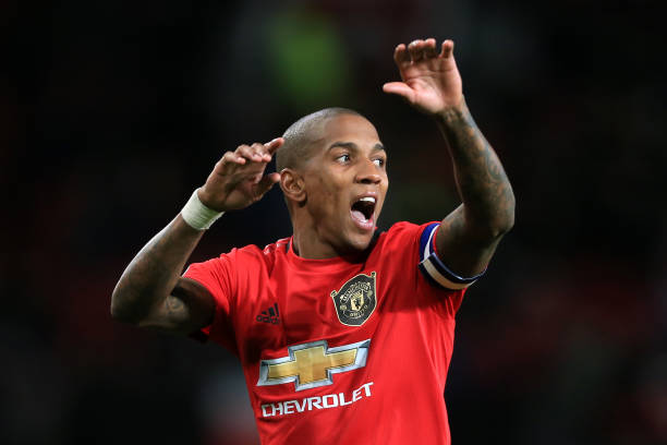 Ashley Young of Man Utd gestures during the Carabao Cup Quarter Final match between Manchester United and Colchester United at Old Trafford on...