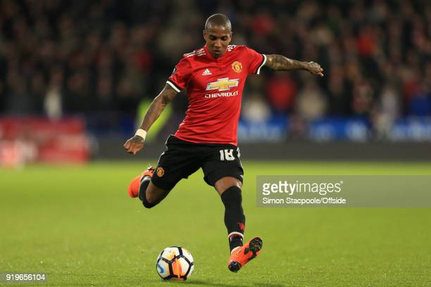 Ashley Young of Man Utd in action during The Emirates FA Cup Fifth Round match between Huddersfield Town and Manchester United at the John Smith's...