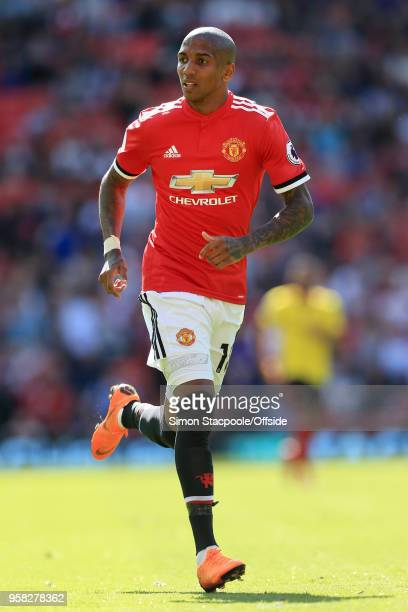 Ashley Young of Man Utd in action during the Premier League match between Manchester United and Watford at Old Trafford on May 13 2018 in Manchester...