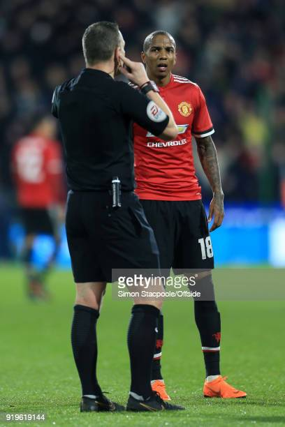 Ashley Young of Man Utd looks confused as referee Kevin Friend awaits a decision from the Video Assistant Referee system during The Emirates FA Cup...