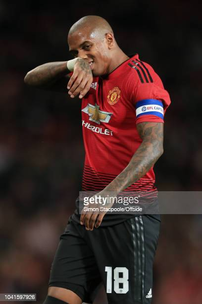 Ashley Young of Man Utd looks dejected during the Carabao Cup Third Round match between Manchester United and Derby County at Old Trafford on...