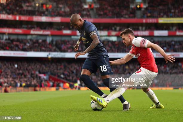 Ashley Young of Manchester United and Aaron Ramsey of Arsenal during the Premier League match between Arsenal FC and Manchester United at Emirates...