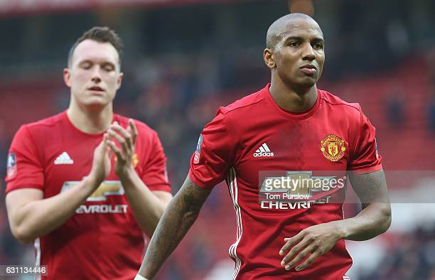 Ashley Young of Manchester United applauds the fans after the Emirates FA Cup Third Round match between Manchester United and Reading at Old Trafford...
