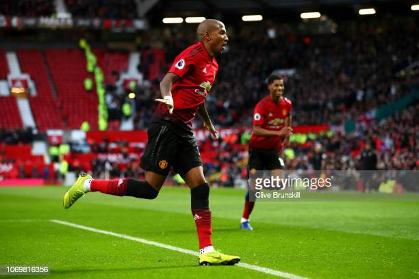 Ashley Young of Manchester United celebrates after scoring his team's first goal during the Premier League match between Manchester United and Fulham...
