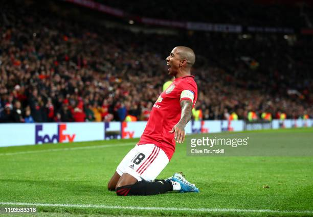 Ashley Young of Manchester United celebrates after scoring his team's first goal during the UEFA Europa League group L match between Manchester...