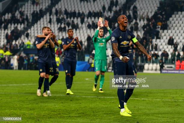 Ashley Young of Manchester United celebrates at full time during the Group H match of the UEFA Champions League between Juventus and Manchester...