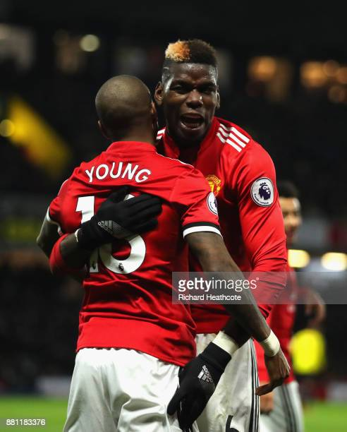 Ashley Young of Manchester United celebrates scoring the 2nd goal with Paul Pogba of Manchester United during the Premier League match between...