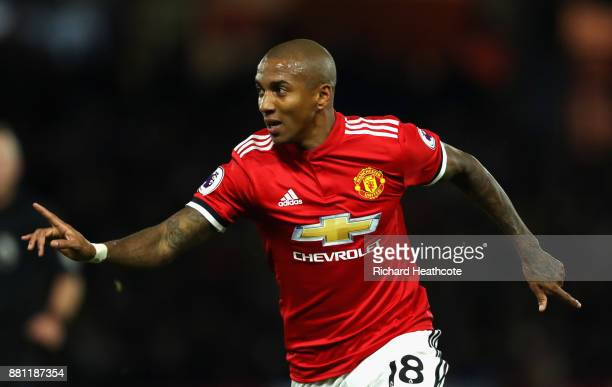 Ashley Young of Manchester United celebrates scoring the 2nd goal during the Premier League match between Watford and Manchester United at Vicarage...