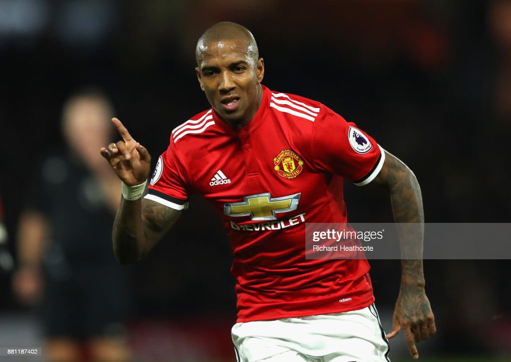 Ashley Young of Manchester United celebrates scoring the 2nd goal during the Premier League match between Watford and Manchester United at Vicarage Road on November 28, 2017 in Watford, England.