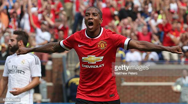 Ashley Young of Manchester United celebrates scoring the first goal during the preseason friendly match between Manchester United and Real Madrid at...