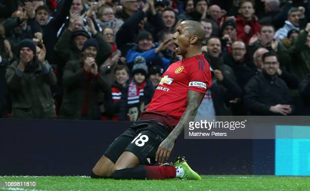 Ashley Young of Manchester United celebrates scoring their first goal their first goal during the Premier League match between Manchester United and...
