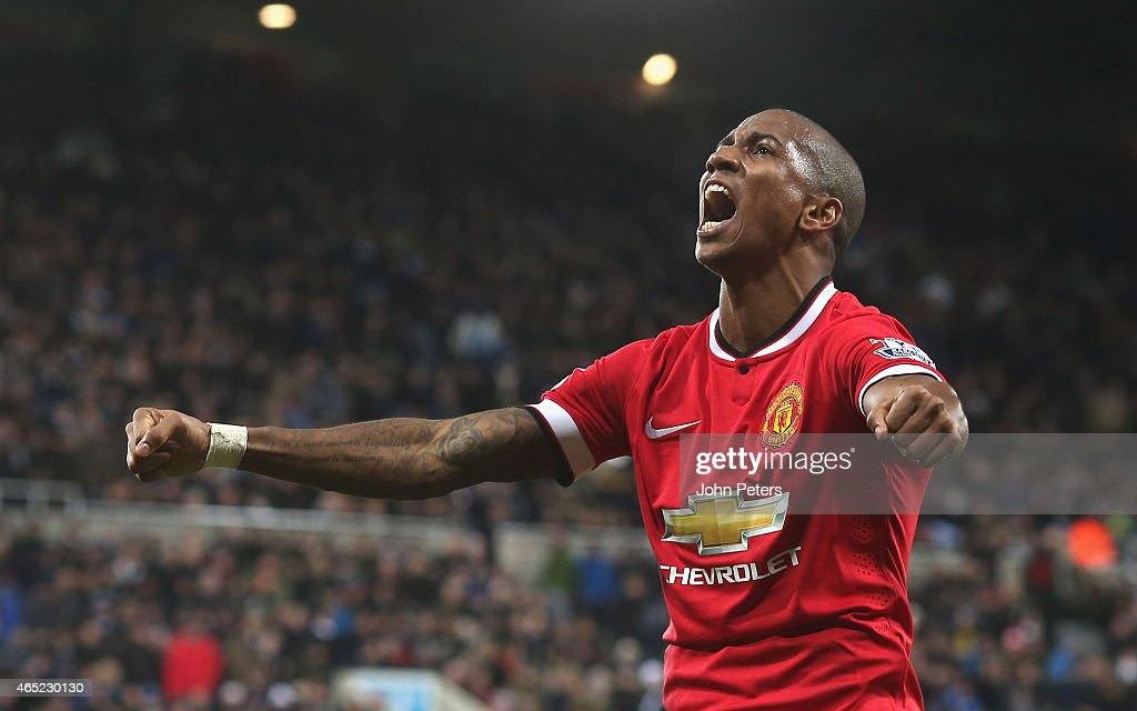 Ashley Young of Manchester United celebrates scoring their first goal during the Barclays Premier League match between Newcastle United and Manchester United at St James' Park on March 4, 2015 in Newcastle upon Tyne, England.