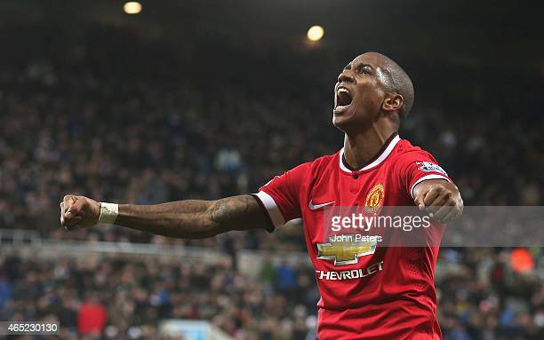 Ashley Young of Manchester United celebrates scoring their first goal during the Barclays Premier League match between Newcastle United and...