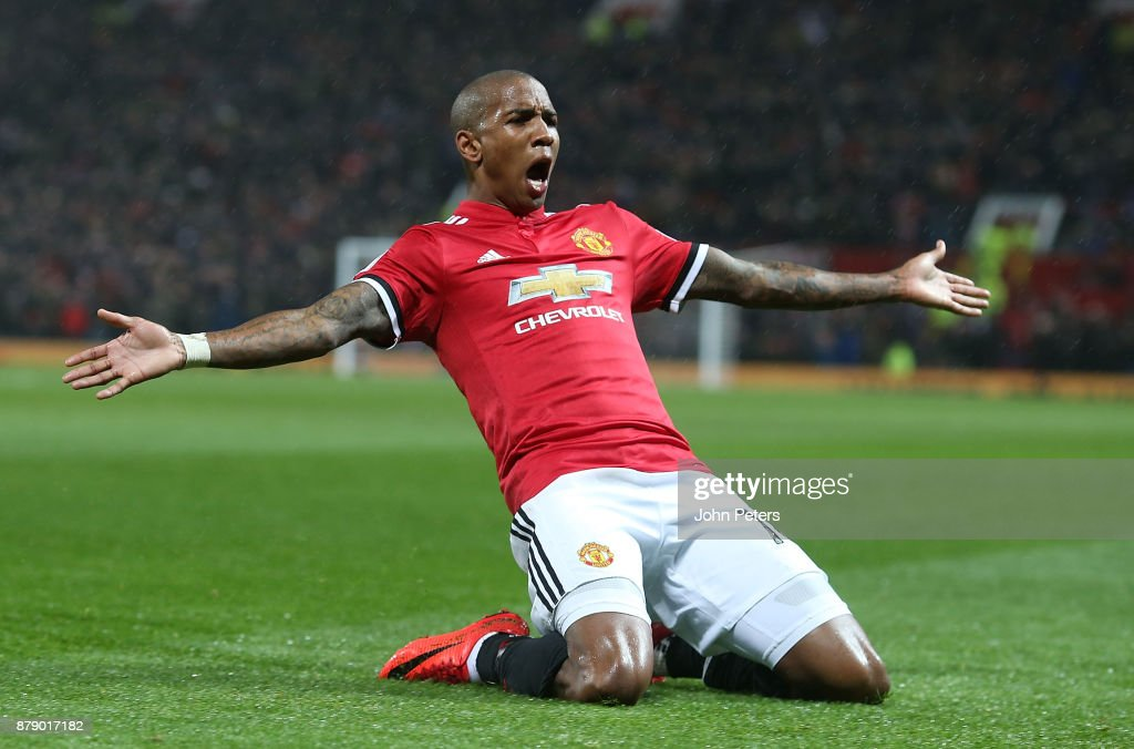 Ashley Young of Manchester United celebrates scoring their first goal during the Premier League match between Manchester United and Brighton and Hove Albion at Old Trafford on November 25, 2017 in Manchester, England.