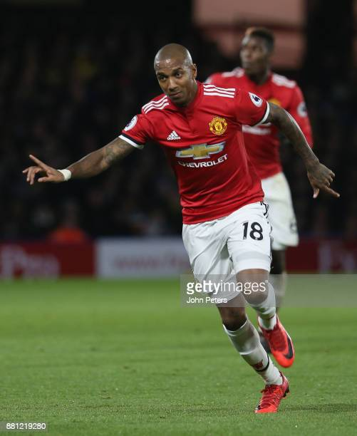 Ashley Young of Manchester United celebrates scoring their first goal during the Premier League match between Watford and Manchester United at...