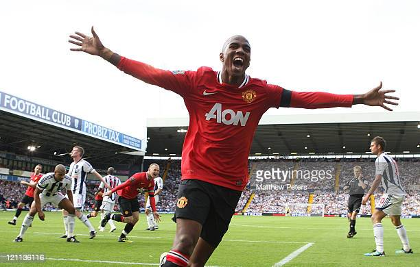 Ashley Young of Manchester United celebrates scoring their second goal during the Barclays Premier League match between West Bromwich Albion and...