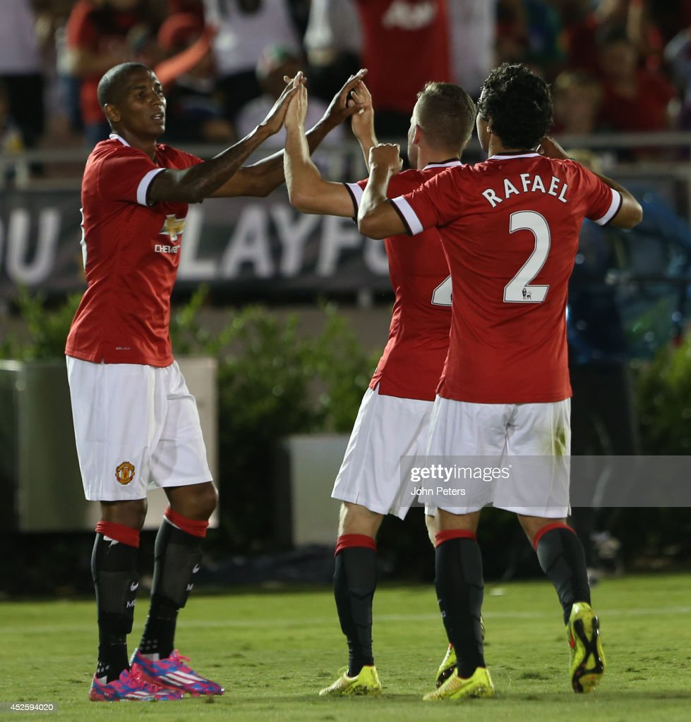 Ashley Young of Manchester United celebrates scoring their seventh goal during the pre-season friendly match between Los Angeles Galaxy and Manchester United at Rose Bowl on July 23, 2014 in Pasadena, California.