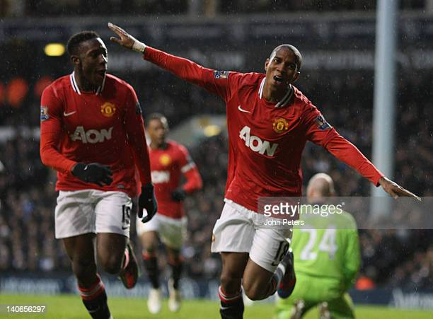 Ashley Young of Manchester United celebrates scoring their third goal during the Barclays Premier League match between Tottenham Hotspur and...