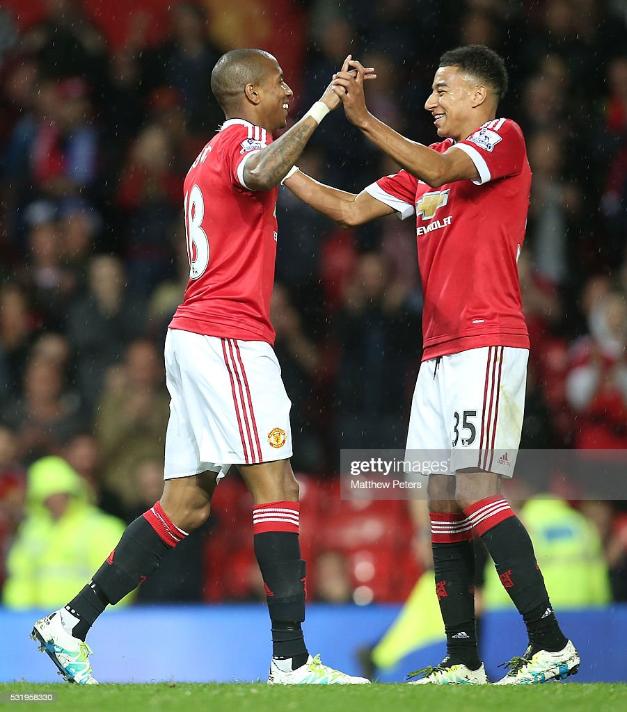 Ashley Young of Manchester United celebrates scoring their third goal during the Barclays Premier League match between Manchester United and AFC Bournemouth at Old Trafford on May 17, 2016 in Manchester, England.