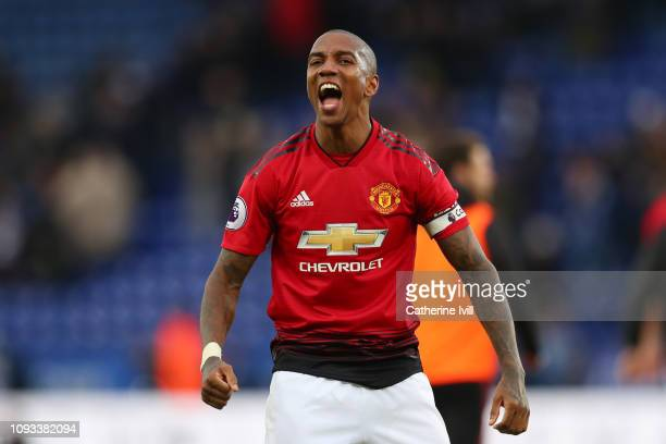 Ashley Young of Manchester United celebrates victory following the Premier League match between Leicester City and Manchester United at The King...