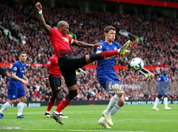 Ashley Young of Manchester United challenges Andreas Christiansen of Chelsea during the Premier League match between Manchester United and Chelsea FC...