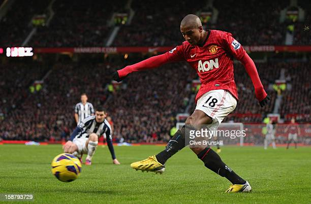 Ashley Young of Manchester United crosses the ball prior to Gareth McAuley of West Bromwich Albion scoring an own goal to make the score 10 during...