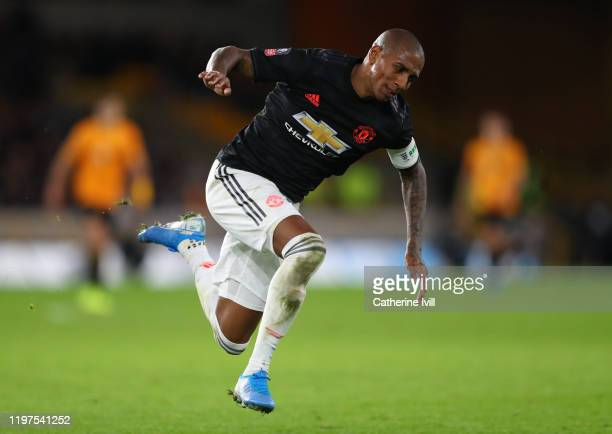 Ashley Young of Manchester United during the FA Cup Third Round match between Wolverhampton Wanderers and Manchester United at Molineux on January...