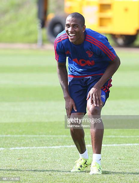 Ashley Young of Manchester United in action during a first team training session at Aon Training Complex on September 11 2015 in Manchester England