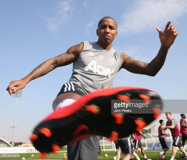 Ashley Young of Manchester United in action during a first team training session at Nad Sheba Sports Complex on January 9, 2018 in Dubai, United Arab...
