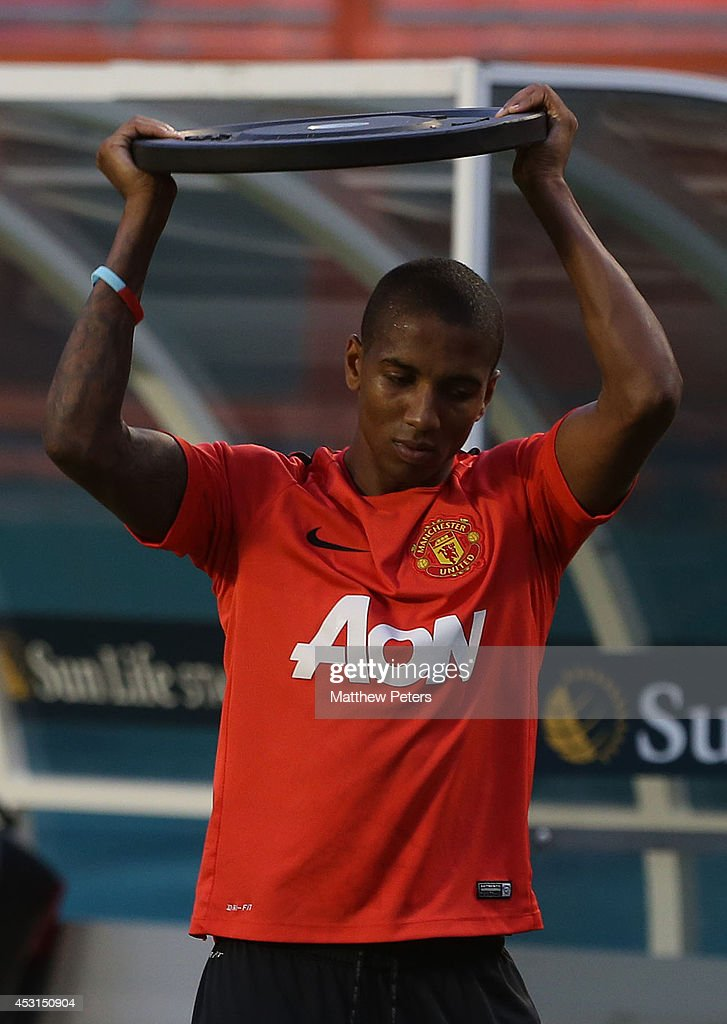 Ashley Young of Manchester United in action during an open training session as part of their pre-season tour of the United States at Sunlife Stadium on August 3, 2014 in Miami, Florida.