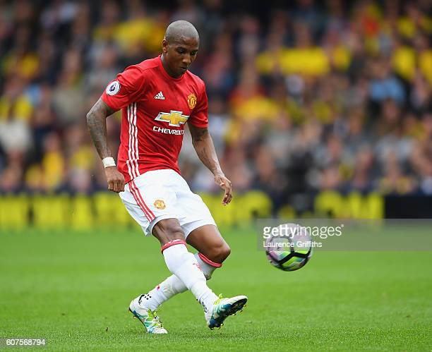 Ashley Young of Manchester United in action during the Premier League match between Watford and Manchester United at Vicarage Road on September 18...