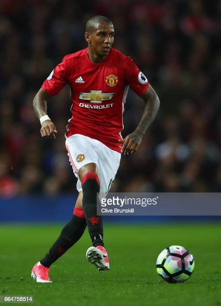 Ashley Young of Manchester United in action during the Premier League match between Manchester United and Everton at Old Trafford on April 4 2017 in...