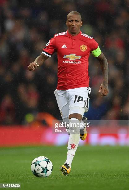 Ashley Young of Manchester United in action during the UEFA Champions League Group A match between Manchester United and FC Basel at Old Trafford on...