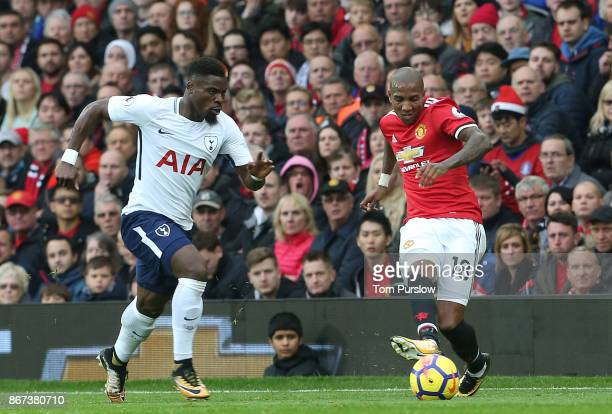 Ashley Young of Manchester United in action withSerge Aurier of Tottenham Hotspur during the Premier League match between Manchester United and...