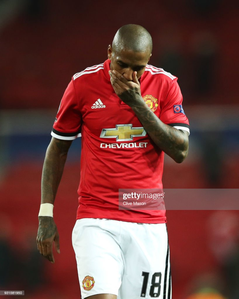Ashley Young of Manchester United looks dejected in defeat after the UEFA Champions League Round of 16 Second Leg match between Manchester United and Sevilla FC at Old Trafford on March 13, 2018 in Manchester, United Kingdom.