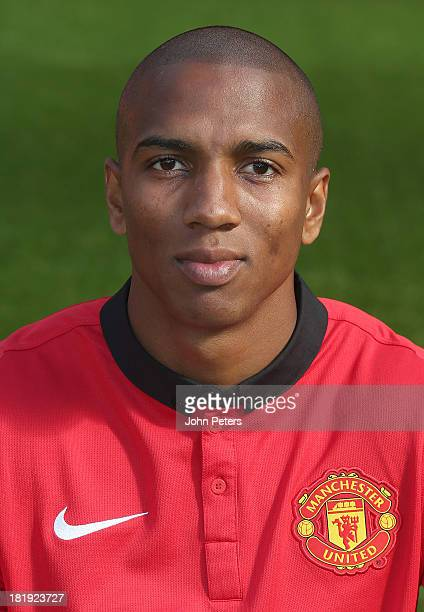 Ashley Young of Manchester United poses at the annual club photocall at Old Trafford on September 26 2013 in Manchester England
