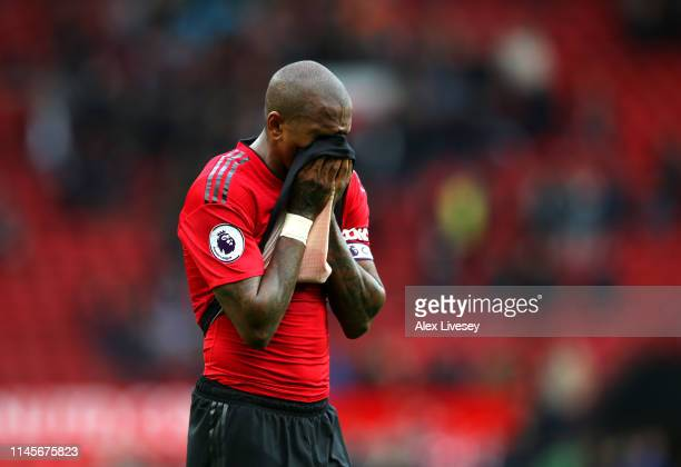Ashley Young of Manchester United reacts after the Premier League match between Manchester United and Chelsea FC at Old Trafford on April 28, 2019 in...