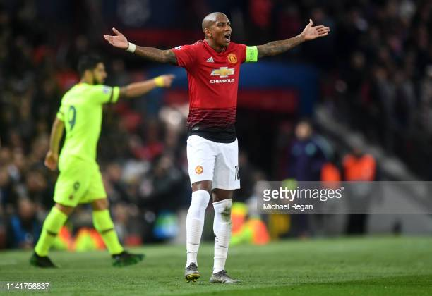Ashley Young of Manchester United reacts during the UEFA Champions League Quarter Final first leg match between Manchester United and FC Barcelona at...