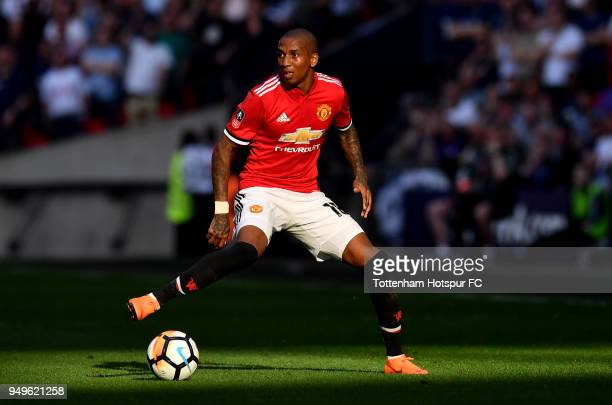 Ashley Young of Manchester United runs with the ball during The Emirates FA Cup Semi Final match between Manchester United and Tottenham Hotspur at...