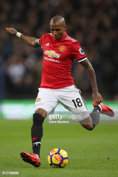 Ashley Young of Manchester United runs with the ball during the Premier League match between Tottenham Hotspur and Manchester United at Wembley...