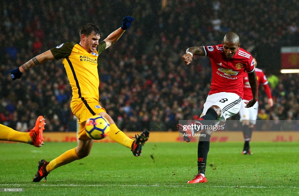 Ashley Young of Manchester United scores his sides first goal during the Premier League match between Manchester United and Brighton and Hove Albion at Old Trafford on November 25, 2017 in Manchester, England.