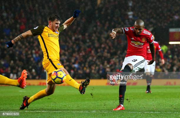 Ashley Young of Manchester United scores his sides first goal during the Premier League match between Manchester United and Brighton and Hove Albion...