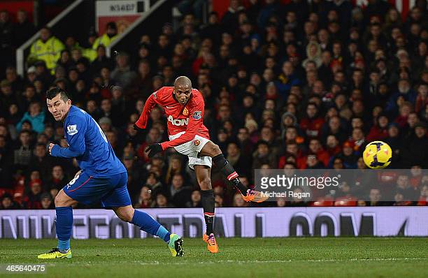 Ashley Young of Manchester United scores his team's second goal during the Barclays Premier League match between Manchester United and Cardiff City...