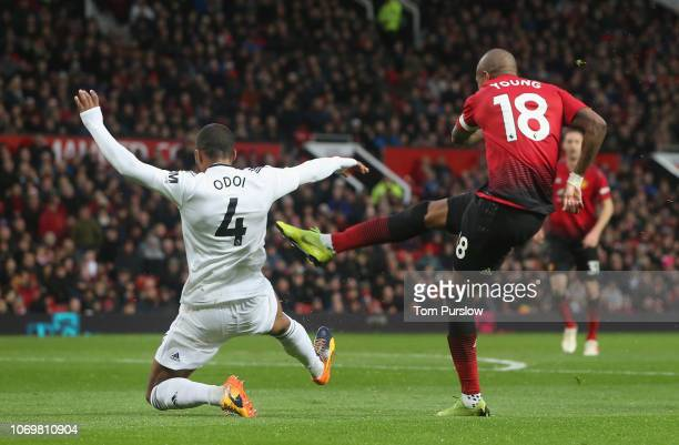 Ashley Young of Manchester United scores their first goal during the Premier League match between Manchester United and Fulham FC at Old Trafford on...